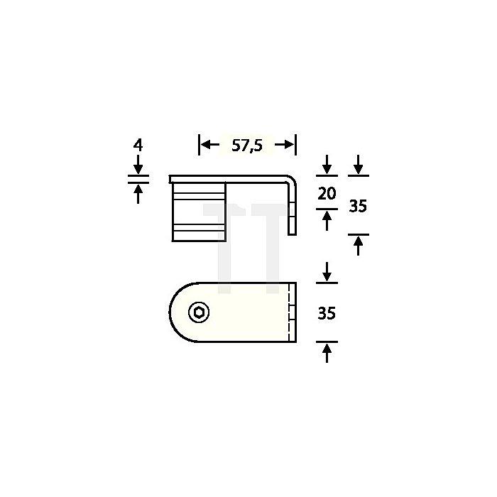 Stütze 6717 90 Grad gerade außen gewinkelt VA feinmatt 6204