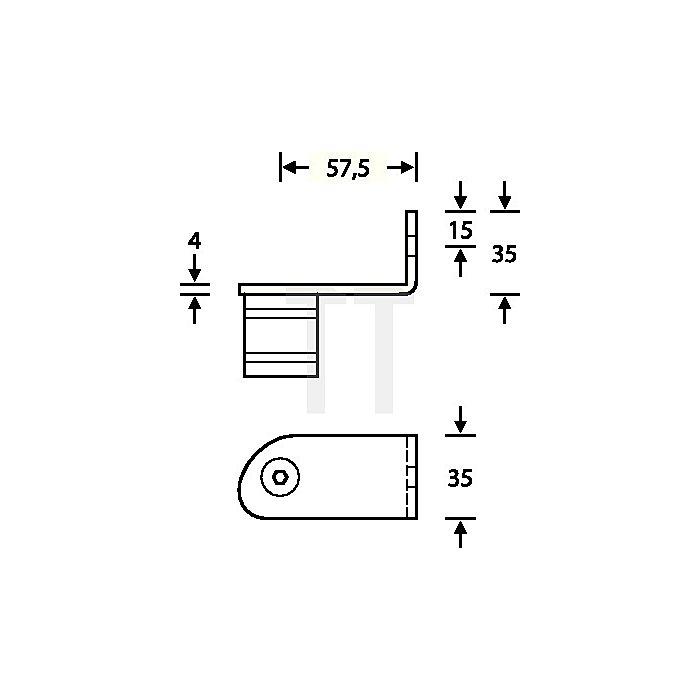Stütze 6738 04 45 Grad gekröpft re.außen gewinkelt VA feinmatt 6204