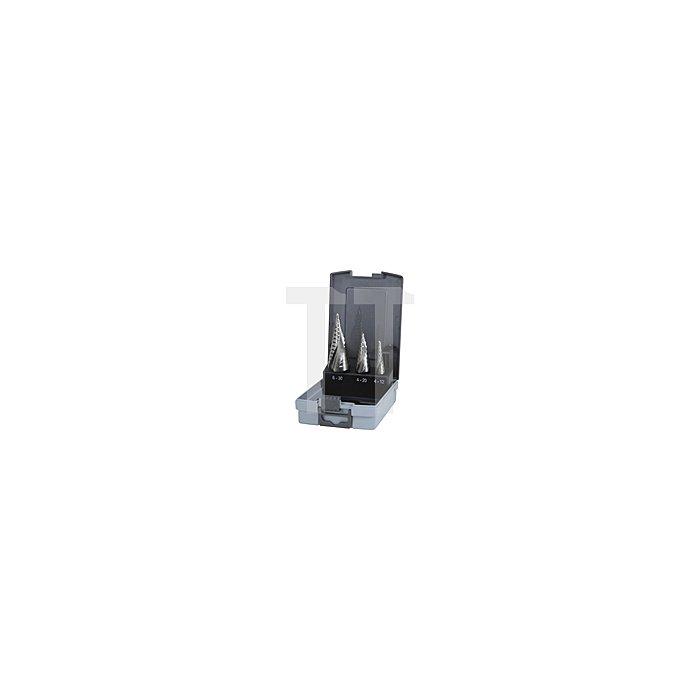 Stufenbohrer-Satz HSS Co 5, geschliffen in Kunststoffkassette (ABS)