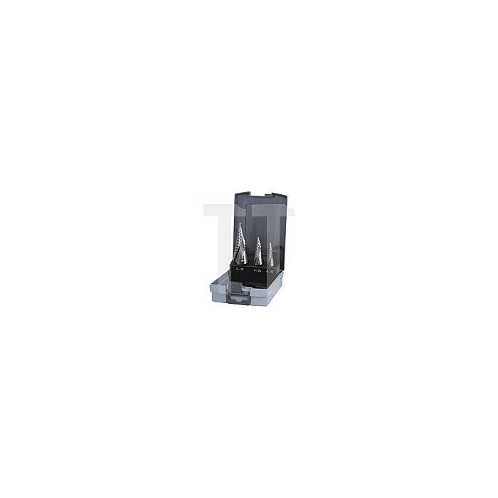 Stufenbohrer-Satz HSS, geschliffen in Kunststoffkassette (ABS)