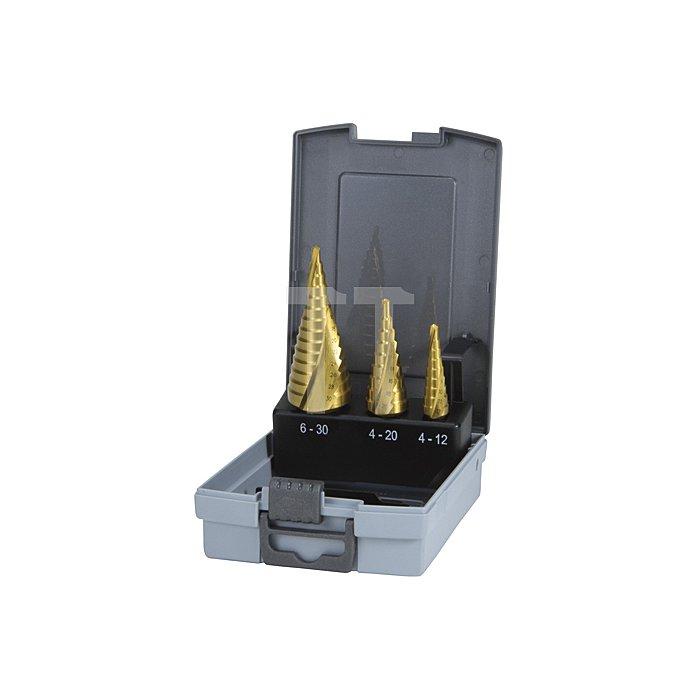 Stufenbohrer-Satz HSS-TiN, geschliffen in Kunststofkassette (ABS)