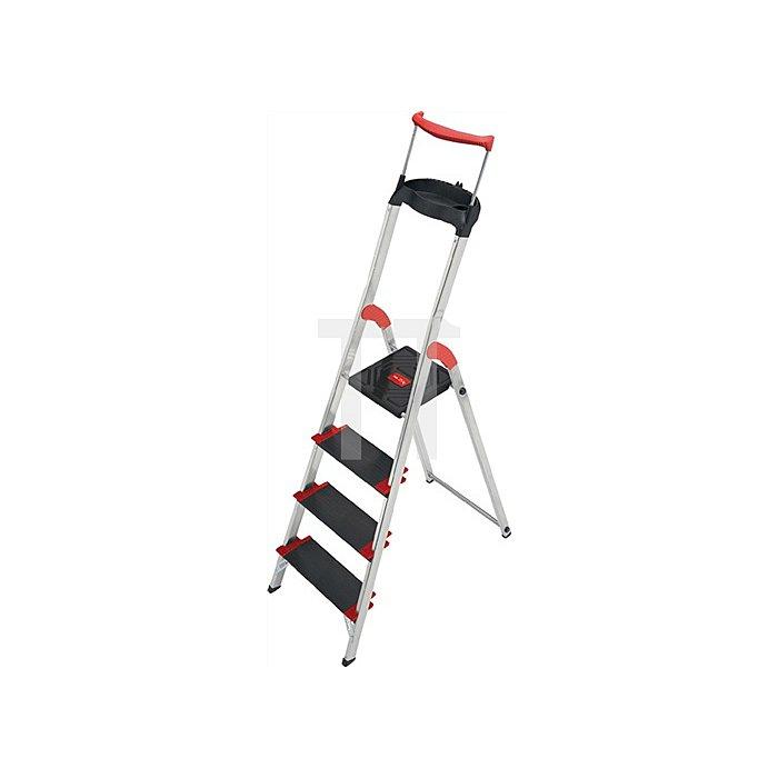 Stufenstehleiter Alu. 4 Stufen einseitig Tragf.225kg Arbeits-H.ca. 2590mm