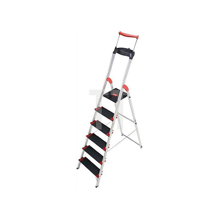 Stufenstehleiter Alu. 6 Stufen einseitig Tragf.225kg Arbeits-H.ca. 3030mm