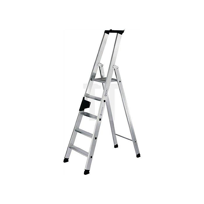 Stufenstehleiter Alu. 6Stufen 1seitig Leiter-H.2040mm u.äußere B.550mm