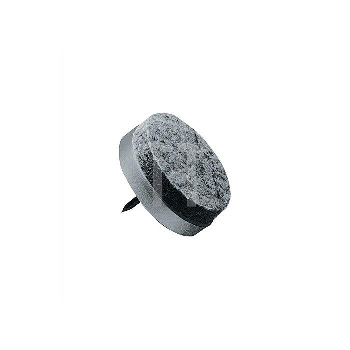 Stuhlbeinnagel Durchmesser 24mm Kunststoff mit grauem Wollfilz
