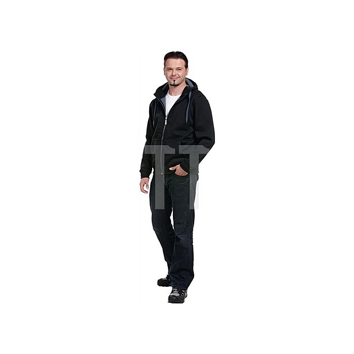 Sweatjacke Gr.XXL black/corban 100 BW, 380g/m²