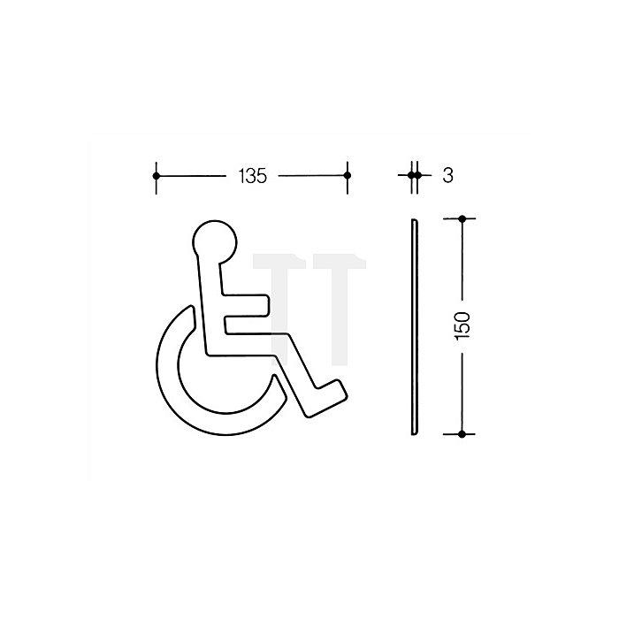 Symbol Behinderte Polyamid rubinrot selbstklebend ohne Zapfen