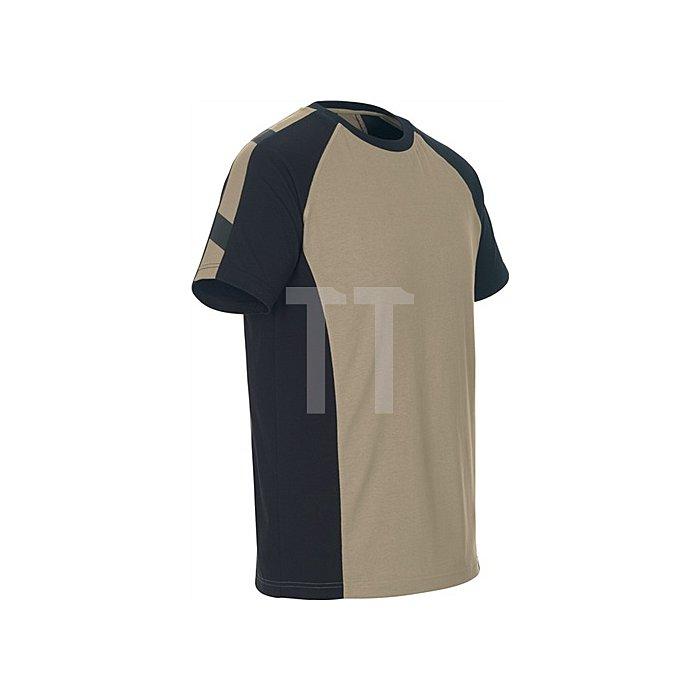 T-Shirt Potsdam Gr.L khaki/schwarz 100% Baumwolle