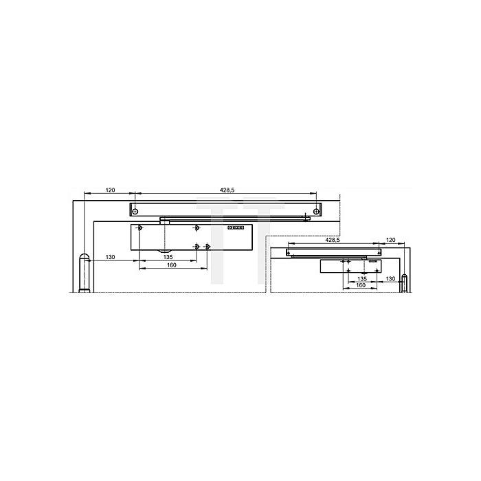 T-Stop Montagewinkel für Gleitschiene BG silber