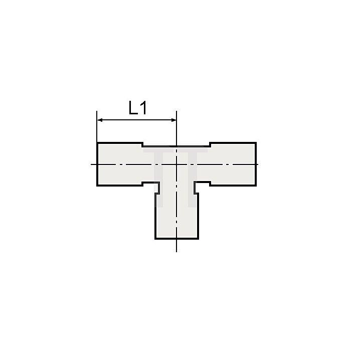 T-Verbinder mit red. Abgang für Schlauch- Außen-Ø mm 2x6 / 1x4 L1 mm 19,0