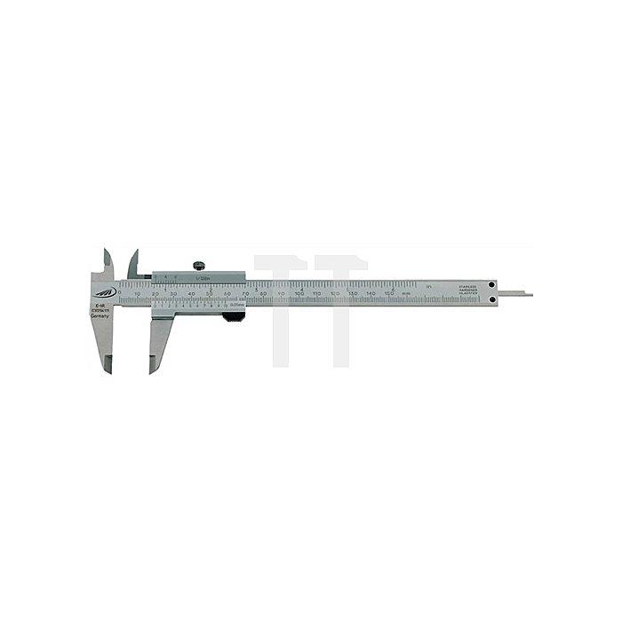 Taschenmessschieber DIN862 150mm m.Feststellschraube Schnabel-L.40mm eckig