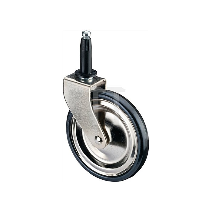 Teewagen-Rolle D.75mm PVC-Reifen schwarz vernickelt m. Stift u.Hülse