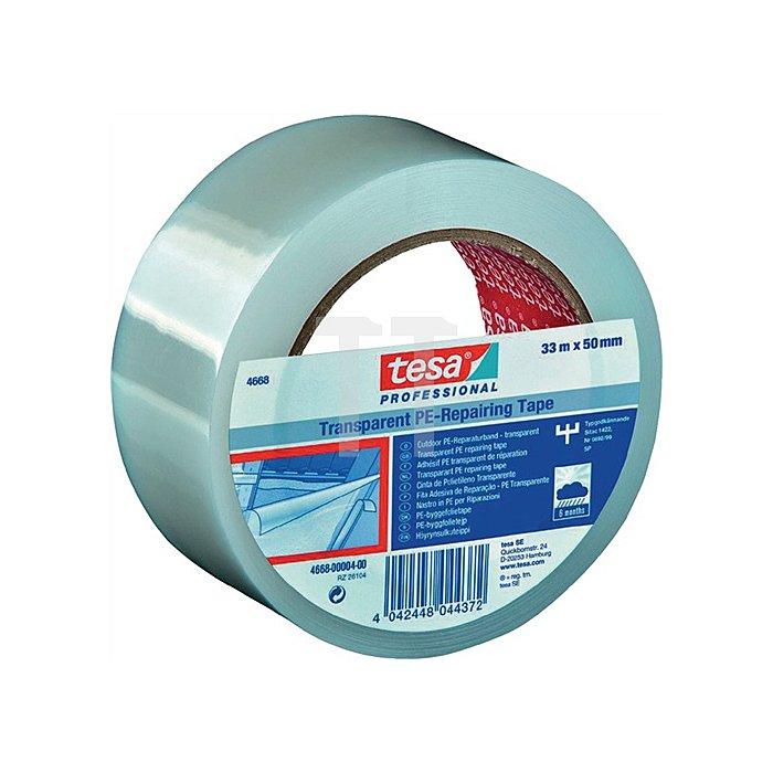 Tesa Reparaturband 4668 50m 33mm transparent für Folienübergänge LDPE