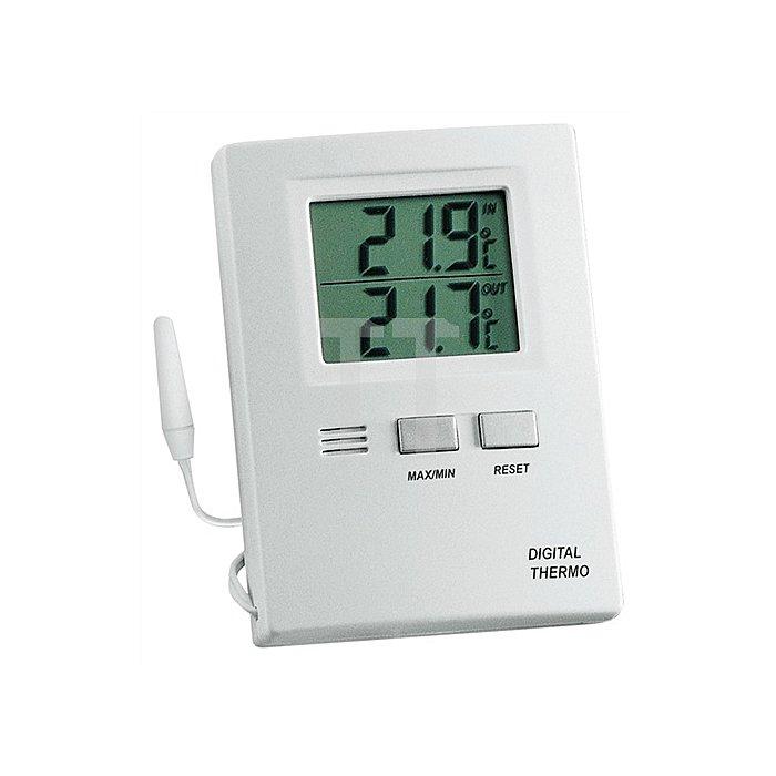 Thermometer elektronisch f.Innen u.Außen weiss H.85xB.60xT.15mm Kabel-L.3m