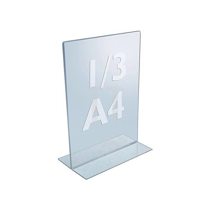 Tischaufsteller f.Format 1/3 DIN A4 Acryl transparent mit T-Ständer