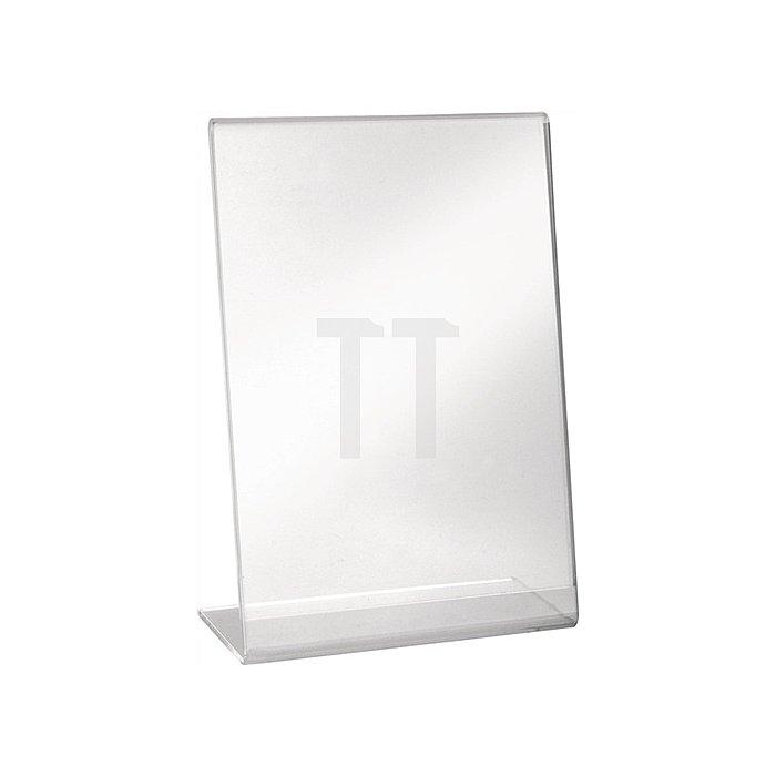 Tischaufsteller f.Format DIN A4 hoch Acryl transparent