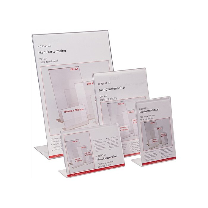 Tischaufsteller f.Format DIN A5 hoch Acryl transparent