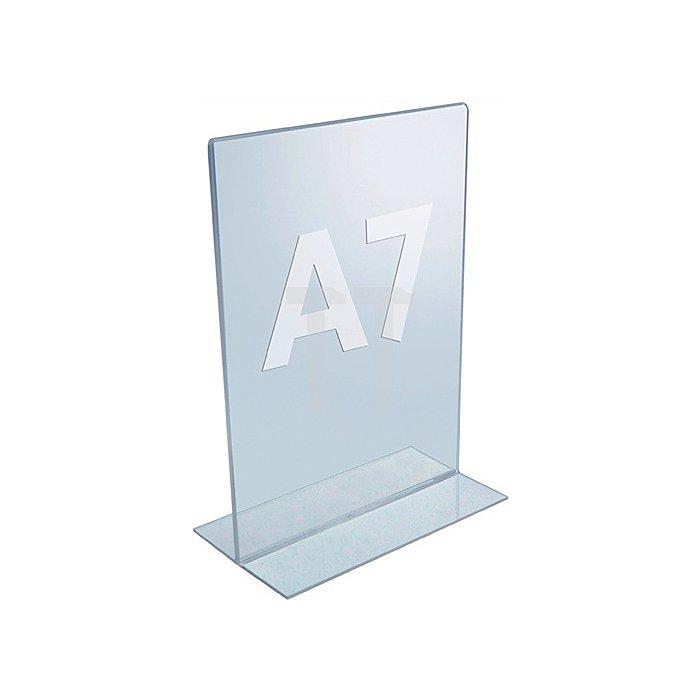 Tischaufsteller f.Format DIN A7 Acryl transparent mit T-Ständer
