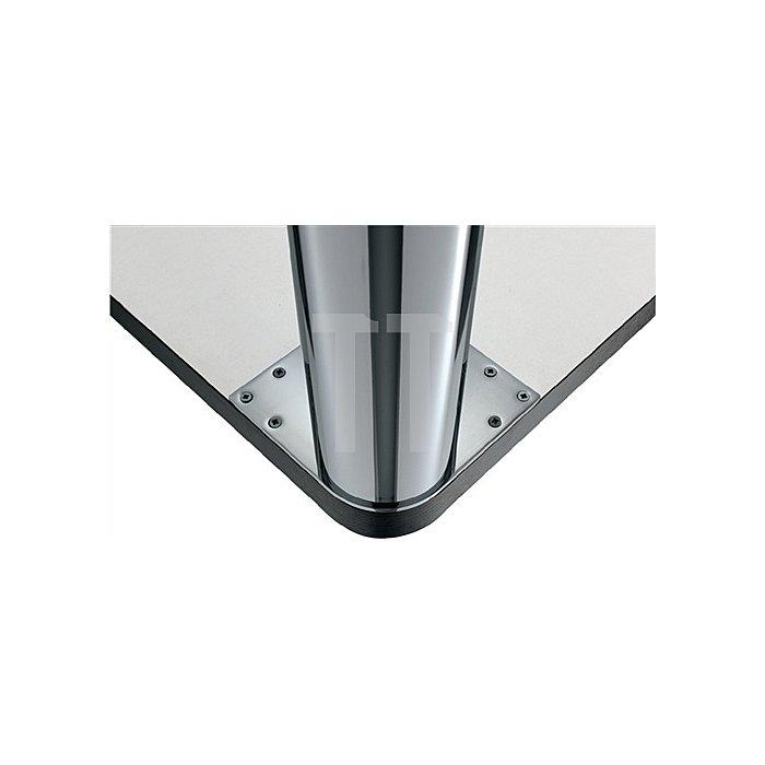 Tischbein D.102mm H.710mm verchromt poliert mit Montageplatte