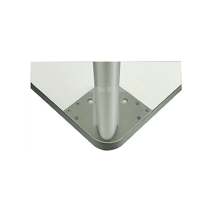 Tischbein Ellipsenform L.101xB.50,8mm Edelstahloptik mit Montageplatte
