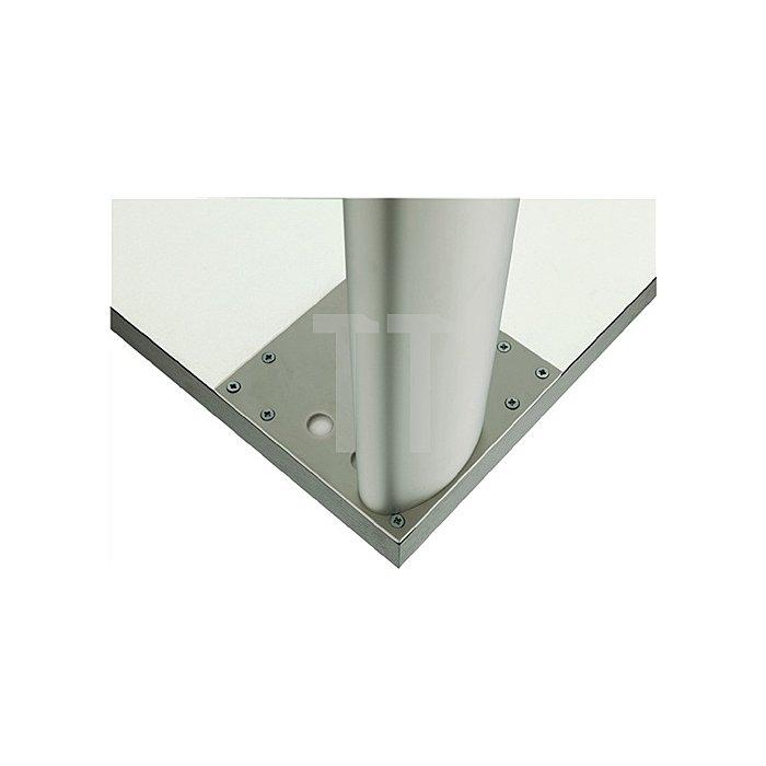 Tischbein Ellipsenform L.101xB.50,8mm Matt weiss RAL 9003 mit Montageplatte