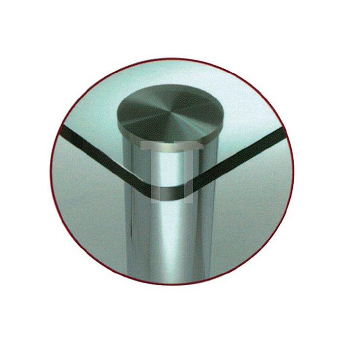 Tischbein f.Glas D.102mm H.710mm Matt schwarz RAL 9003 mit Montageplatte