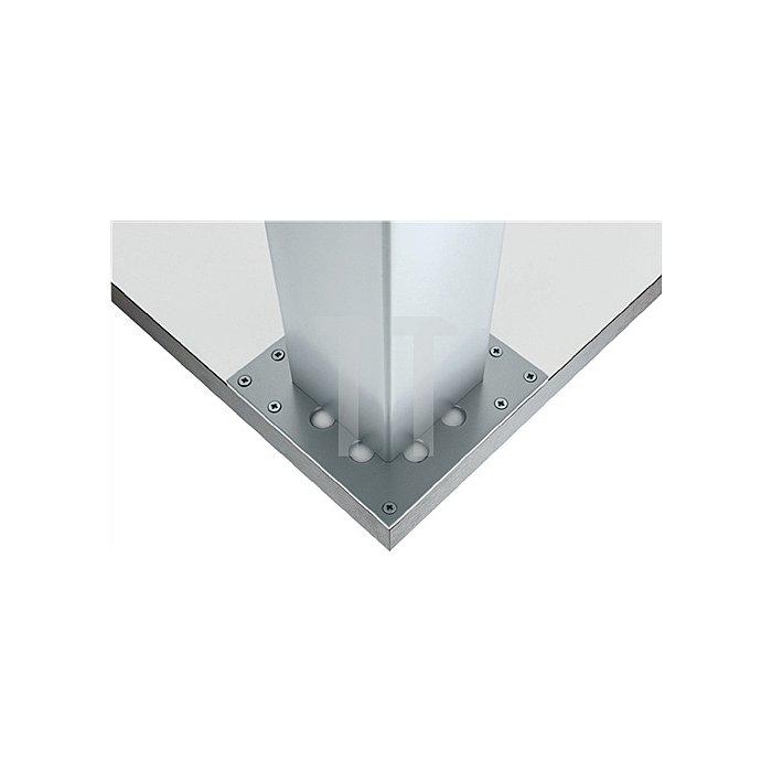 Tischbein L.100xB.100mm H.710mm Matt weiss RAL 9003 mit Montageplatte
