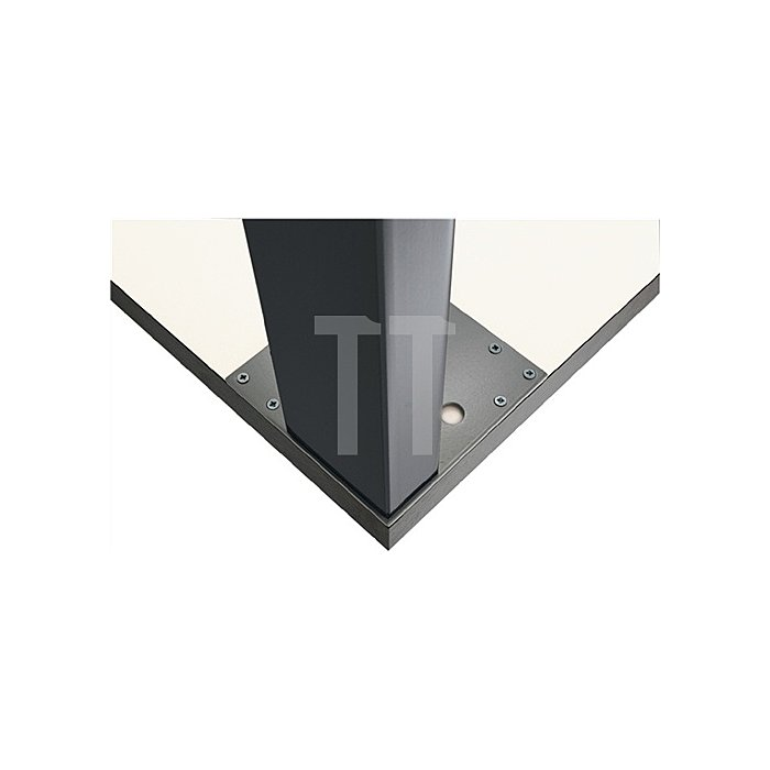 Tischbein L.100xB.50mm H.710mm Edelstahloptik mit Montageplatte