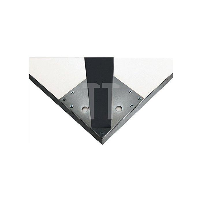 Tischbein L.100xB.50mm H.710mm Matt schwarz RAL 9003 mit Montageplatte