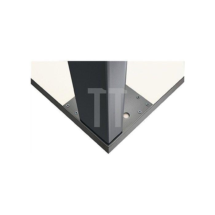 Tischbein L.100xB.50mm H.710mm verchromt poliert mit Montageplatte