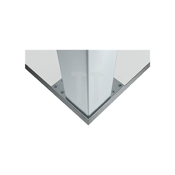 Tischbein L.120xB.120mm H.710mm verchromt poliert mit Montageplatte