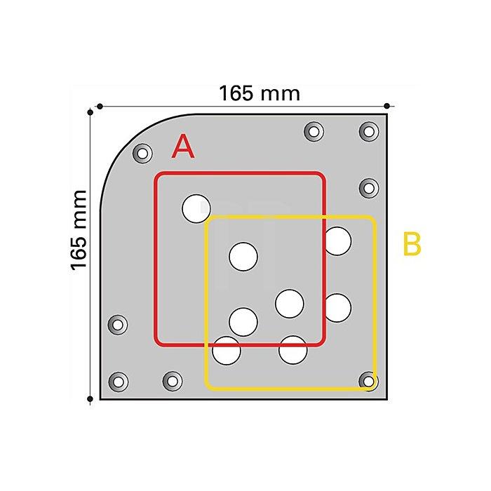 Tischbein L.150xB.150mm H.710mm verchromt poliert mit Montageplatte