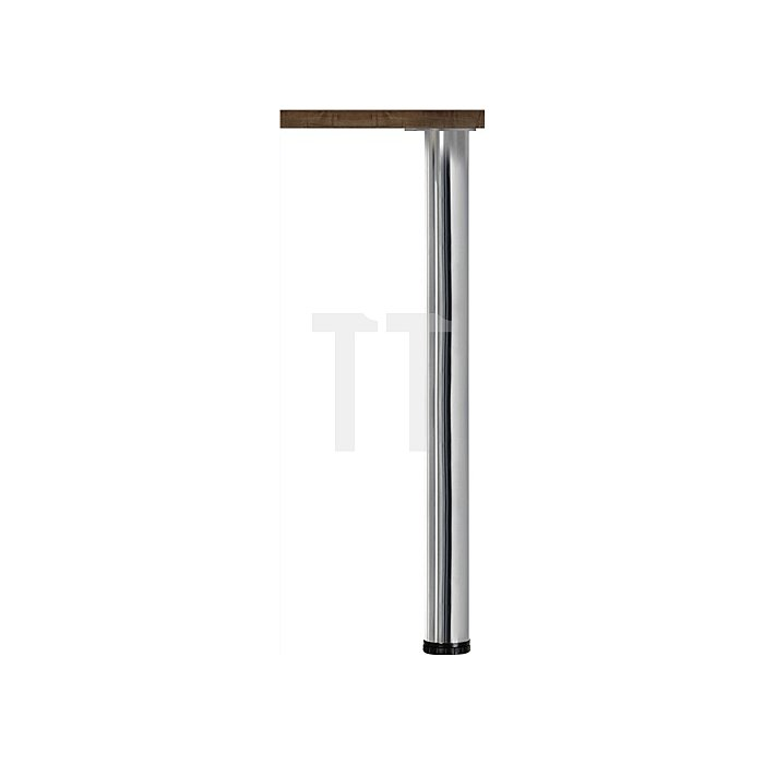 Tischbein-Set Höhe 870mm Stahl-Rundrohr 60mm Edelstahleffekt