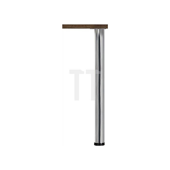Tischbein-Set X48R H.710mm Stahl-Rundrohr 80mm Edelstahleffekt