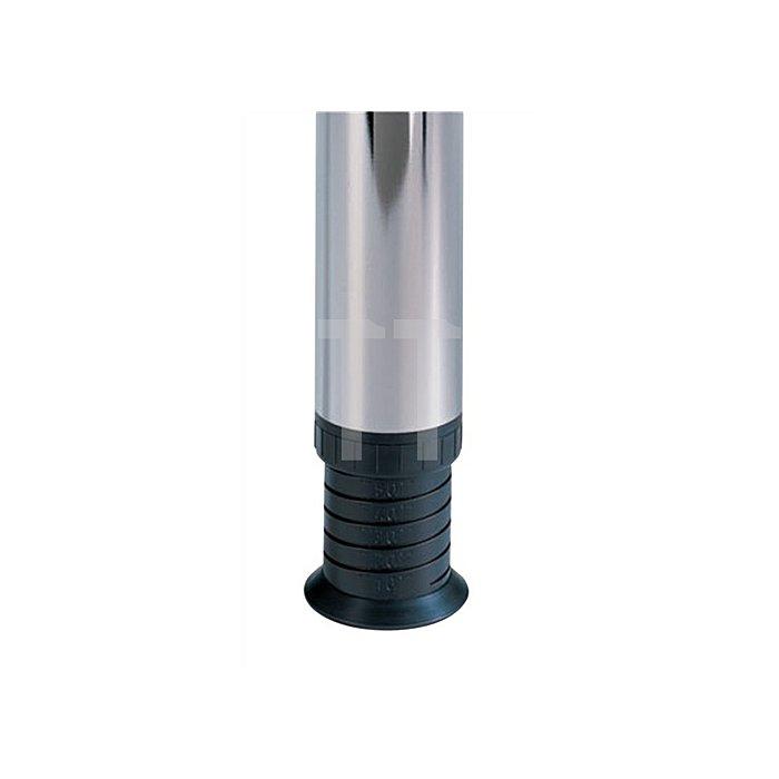 Tischbein-Set Zoom Höhe 700mm Stahl-Rundrohr 60mm Edelstahleffekt