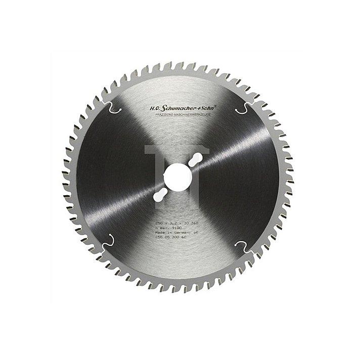 Tischkreissägeblatt D.250mm Bohrung 30mm 60Z. HM Schnitt-B.3,2mm Ku.-Wechselzahn