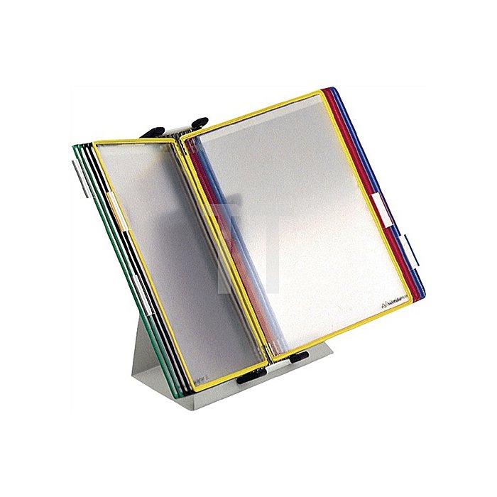 Tischständer RAL7035 10 Sichttafeln farbig sortiert a.Stahlblech