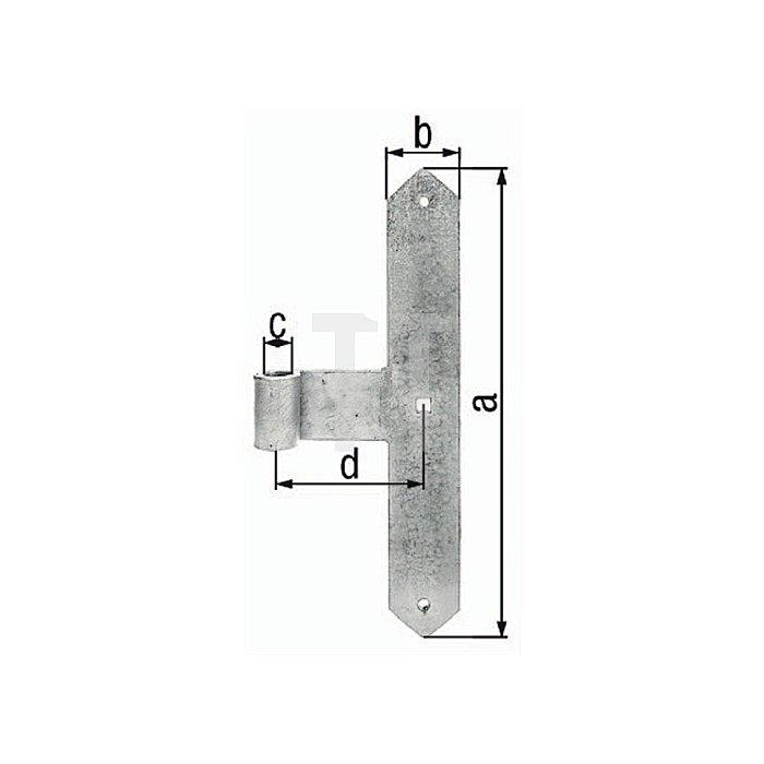 Tor-Mittelband 400x60xØ20x120mm Stahl roh feuerZN