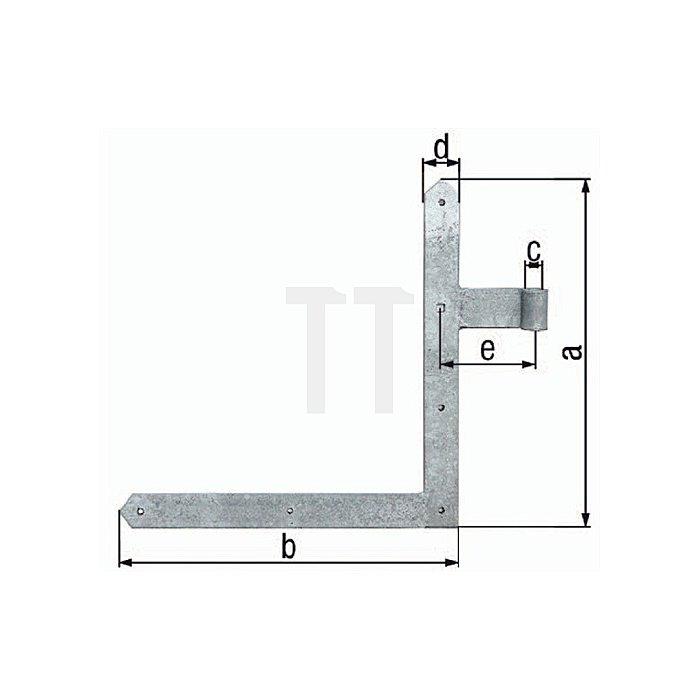 Tor-Winkelband 400x800xØ16x40x105mm Stahl roh feuerZN