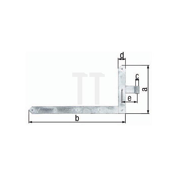 Tor-Winkelband f. Garagentore 600x1000xØ20x60x120mm Stahl roh feuerZN