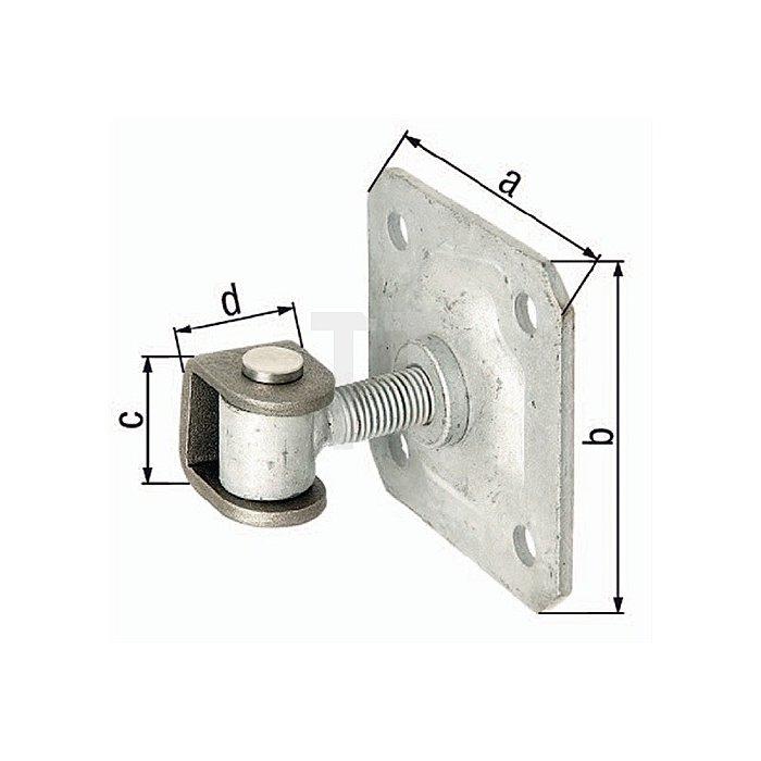 Torband 100x100x44mm U-Bügel Stahl roh verstellb. um 20mm m. Platte GAH