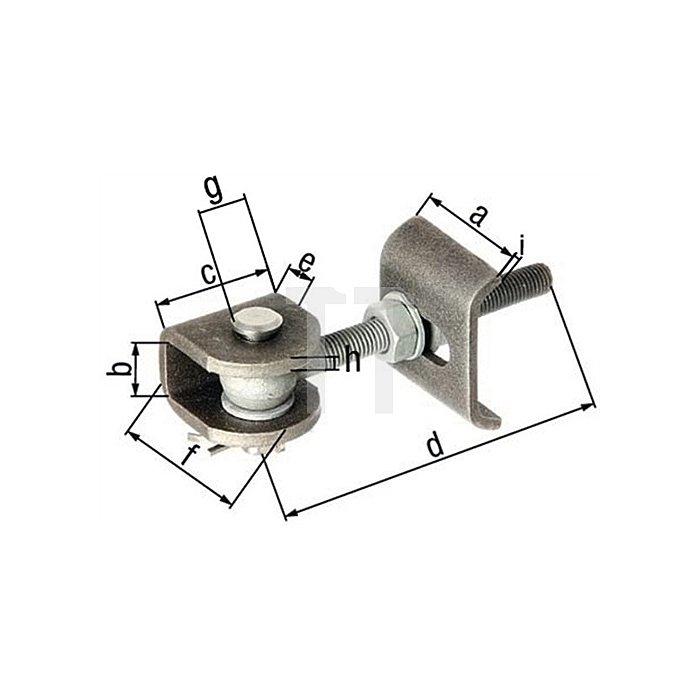 Torband 60x27x45x130x28x50mm Anschweisslasche Stahl roh