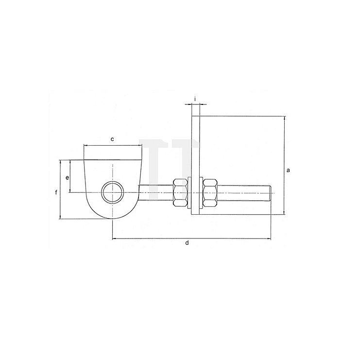 Torband Gewinde M16 Länge 130mm für Metalltore 180 Grad Öffnung Stahl blank