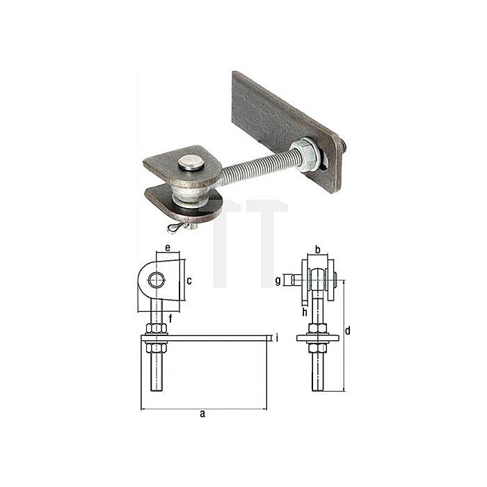 Torband Gewinde M24 Länge 150mm für Metalltore 180 Grad Öffnung Edelstahl