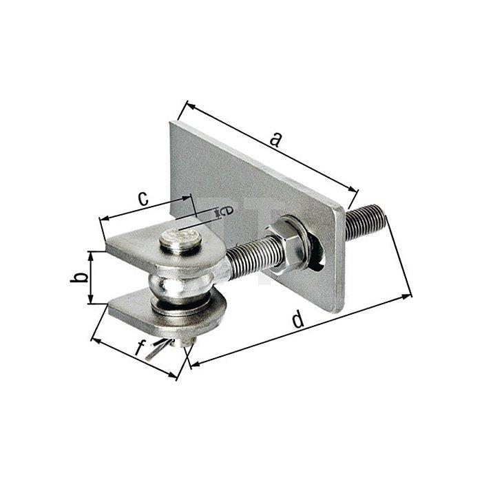 Torband verstellbar Gewinde M16 Länge 130mm für Metalltore Edelstahl