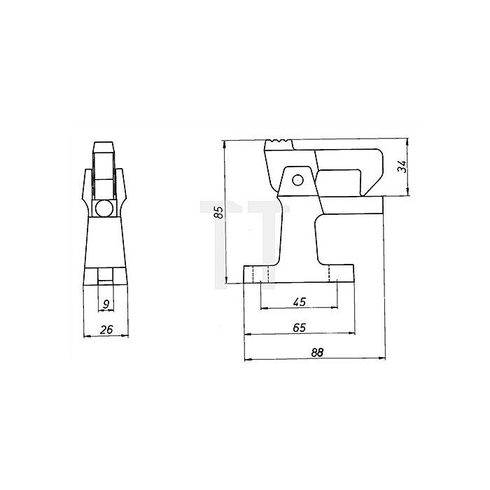 Torfeststeller 3805 o.Puffer Leichtmetall-Guss F1 m.Befestigungsatz