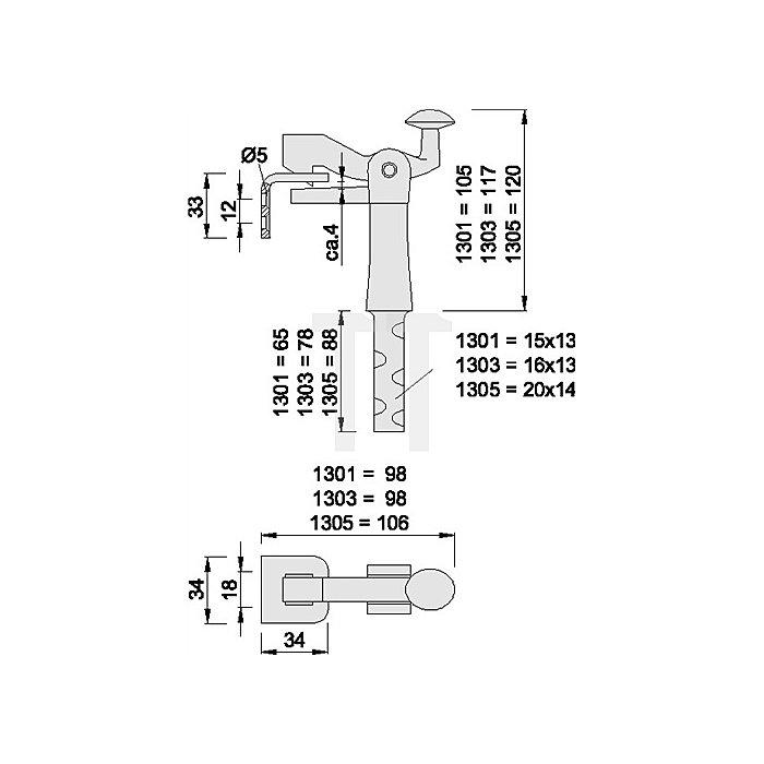 Torfeststeller KWS 1303.03 Ausladung 117mm für Tore bis 100kg Temperguss