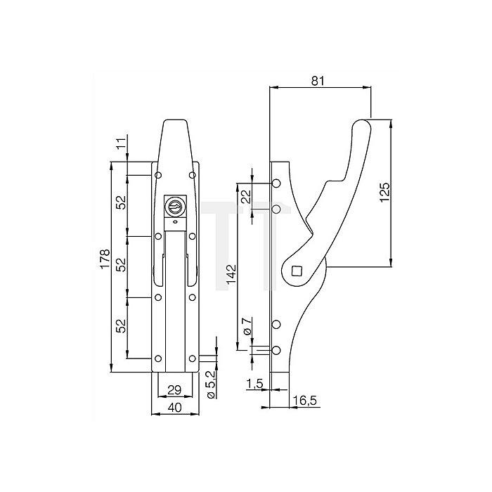 Tortreibriegel für 13mm hell verzinkt abschließbar