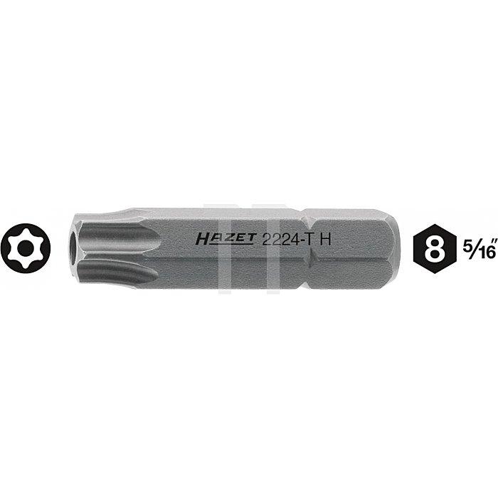 Hazet TORX® Schraubendreher-Einsatz (Bit) T30H Innen-Sechskant 8mm (5/16 Zoll) Innen TORX® l: 35mm 2224-T30H