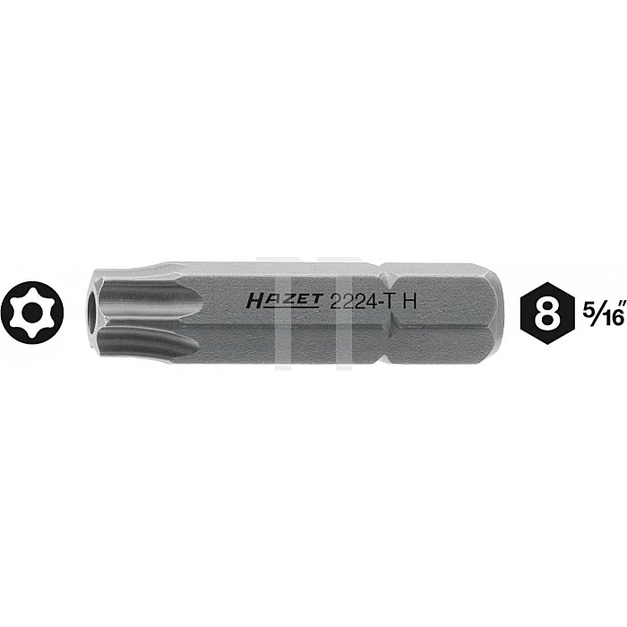 Hazet TORX® Schraubendreher-Einsatz (Bit) T40H Innen-Sechskant 8mm (5/16 Zoll) Innen TORX® l: 35mm 2224-T40H